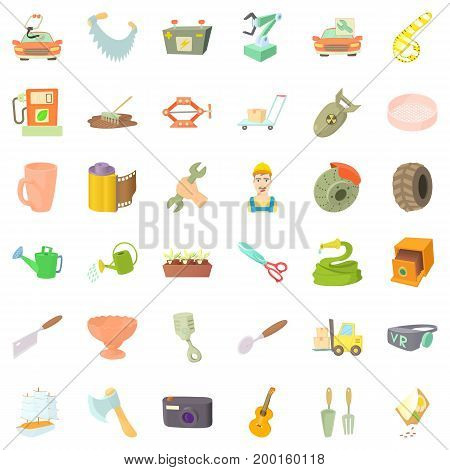 Worker crafticons set. Cartoon style of 36 worker craft vector icons for web isolated on white background