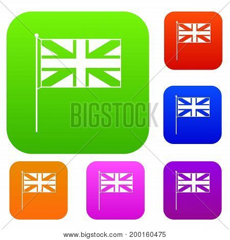 UK flag set icon in different colors isolated vector illustration. Premium collection