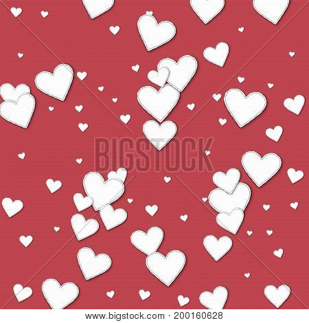 Cutout Paper Hearts. Scatter Horizontal Lines On Crimson Background. Vector Illustration.