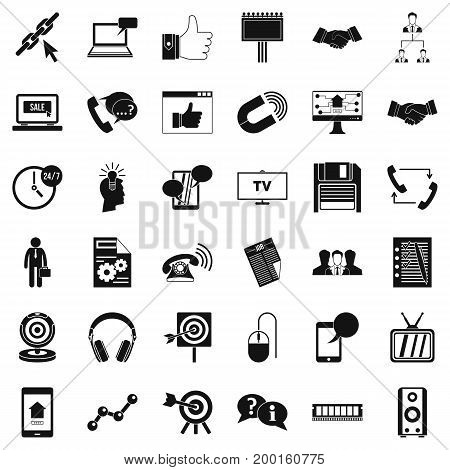 Exchange information icons set. Simple style of 36 exchange information vector icons for web isolated on white background