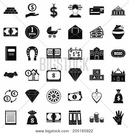 Money deposit icons set. Simple style of 36 money deposit vector icons for web isolated on white background