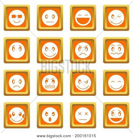 Emoticon icons set in orange color isolated vector illustration for web and any design