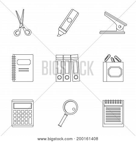 Office stuff icon set. Outline style set of 9 office stuff vector icons for web isolated on white background
