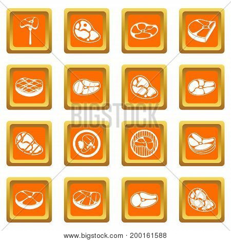 Steak icons set in orange color isolated vector illustration for web and any design