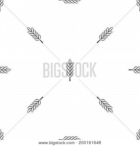 Wheat spike pattern repeat seamless in black color for any design. Vector geometric illustration