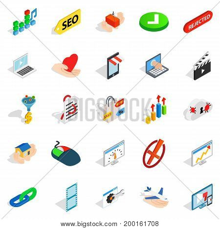 Precaution icons set. Isometric set of 25 precaution vector icons for web isolated on white background