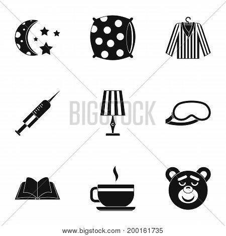 Sleep symbols icon set. Simple style set of 9 sleep symbol vector icons for web isolated on white background