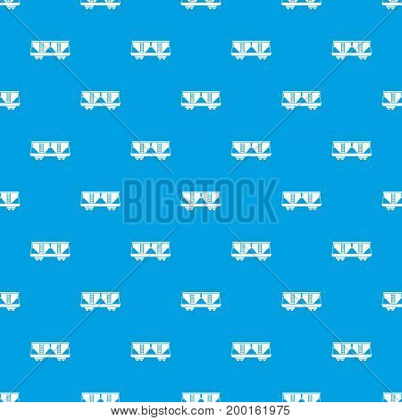 Freight railroad car pattern repeat seamless in blue color for any design. Vector geometric illustration