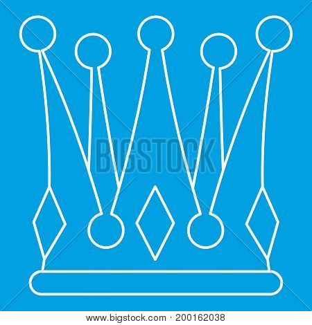 Kingly crown icon blue outline style isolated vector illustration. Thin line sign