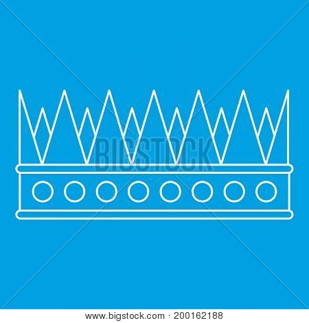 Regal crown icon blue outline style isolated vector illustration. Thin line sign
