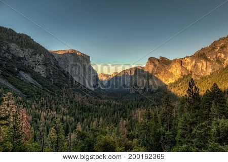 Yosemite National Park Valley from Tunnel View on sunset