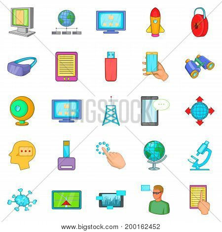 Querying data icons set. Cartoon set of 25 querying data vector icons for web isolated on white background