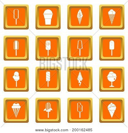 Ice cream icons set in orange color isolated vector illustration for web and any design