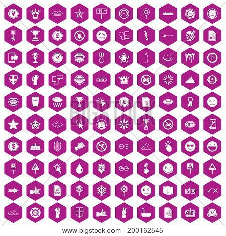 100 symbol icons set in violet hexagon isolated vector illustration