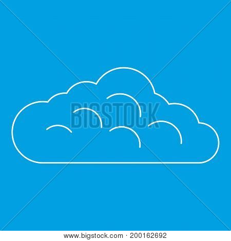 Sky cloud icon blue outline style isolated vector illustration. Thin line sign