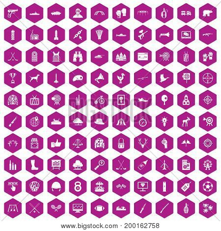 100 target icons set in violet hexagon isolated vector illustration