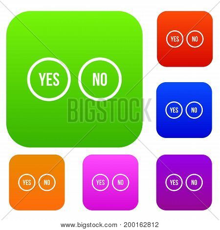 Selection buttons yes and no set icon in different colors isolated vector illustration. Premium collection