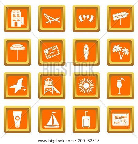 Miami icons set in orange color isolated vector illustration for web and any design