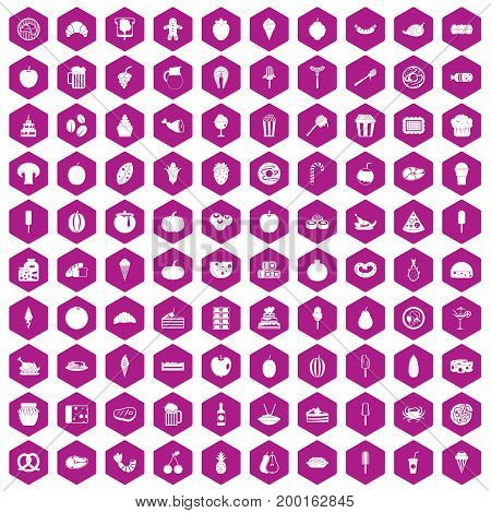 100 tasty food icons set in violet hexagon isolated vector illustration