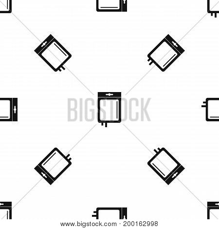 Blood transfusion pattern repeat seamless in black color for any design. Vector geometric illustration