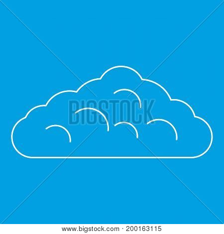 Wet cloud icon blue outline style isolated vector illustration. Thin line sign