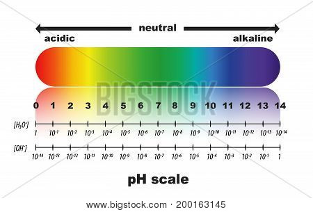 scale of ph value for acid and alkaline solutions , isolated background