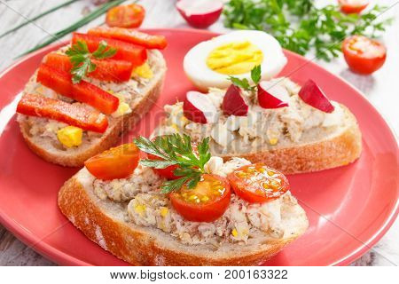 Mackerel Or Tuna Fish Paste Sandwiches Or Baguette On Glass Plate