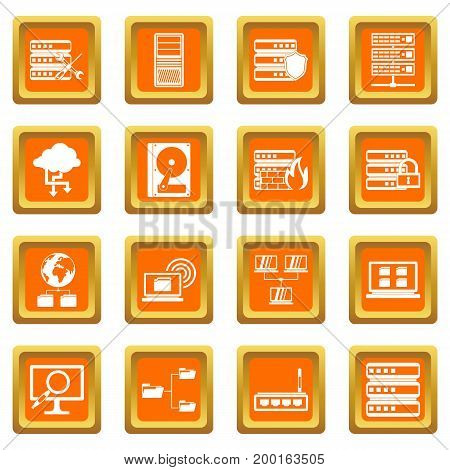 Big data icons set in orange color isolated vector illustration for web and any design