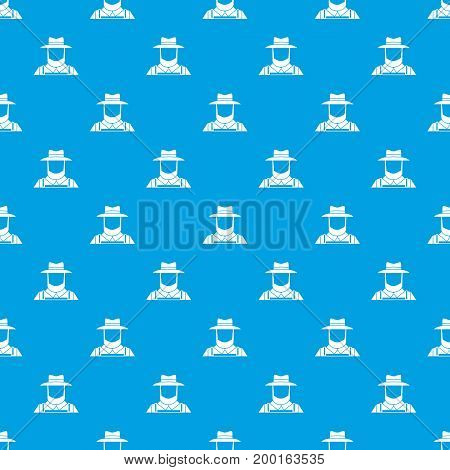 Farmer pattern repeat seamless in blue color for any design. Vector geometric illustration