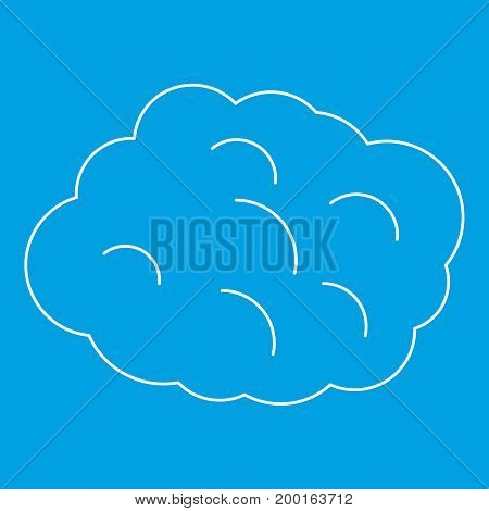 Round cloud icon blue outline style isolated vector illustration. Thin line sign