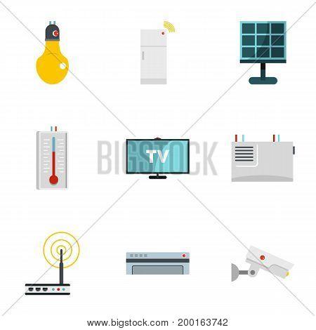 Automation technology icon set. Flat style set of 9 automation technology vector icons for web isolated on white background