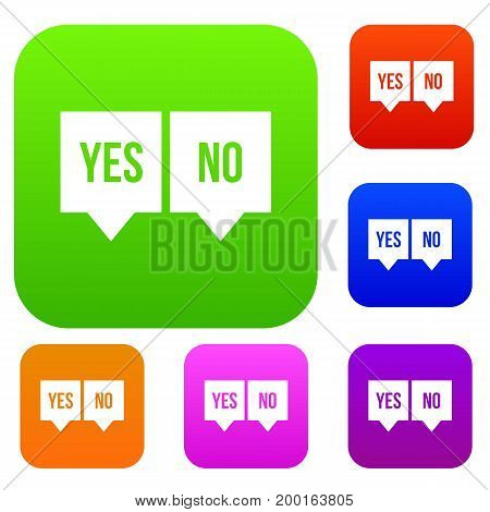 Signs of yes and no set icon in different colors isolated vector illustration. Premium collection