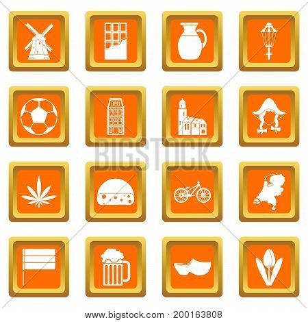 Netherlands icons set in orange color isolated vector illustration for web and any design