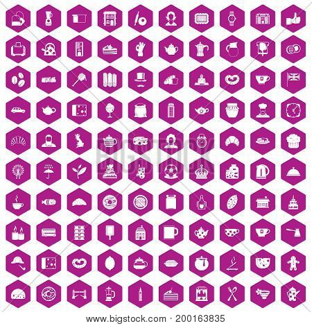 100 tea time food icons set in violet hexagon isolated vector illustration