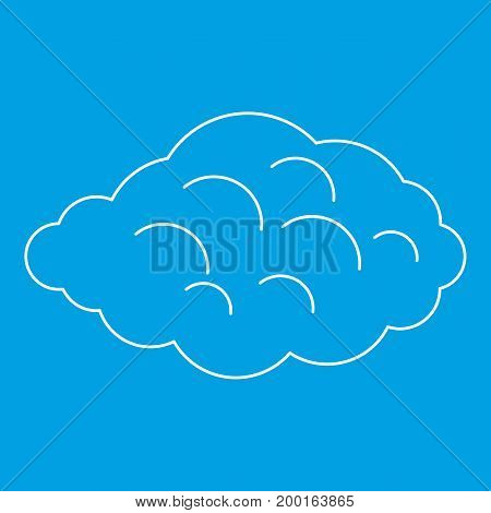 Small cloud icon blue outline style isolated vector illustration. Thin line sign