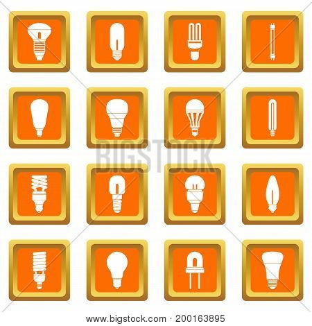 Light bulb icons set in orange color isolated vector illustration for web and any design