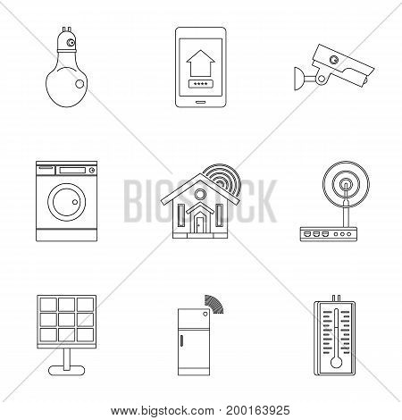 Smart home system icon set. Outline style set of 9 smart home system vector icons for web isolated on white background