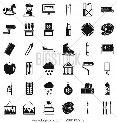 Painting icons set. Simple style of 36 painting vector icons for web isolated on white background