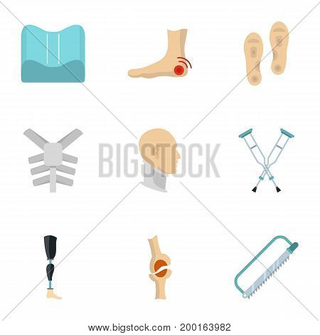 Traumatology and orthopedic icon set. Flat style set of 9 traumatology and orthopedic vector icons for web isolated on white background