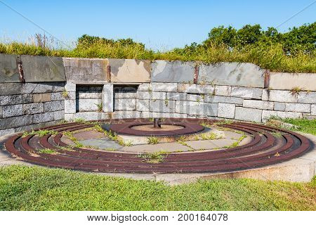 HAMPTON, VIRGINIA - JULY 9, 2017:  Circular iron tracks at Fort Monroe in Hampton, Virginia for a 15-inch Rodman gun used during the American Civil War.  The guns were intended to be mounted in seacoast fortifications.
