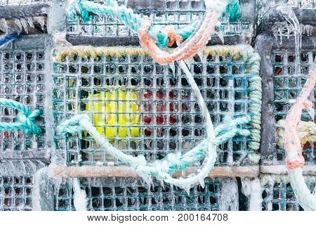 Frozen Lobster traps waiting for the season to open