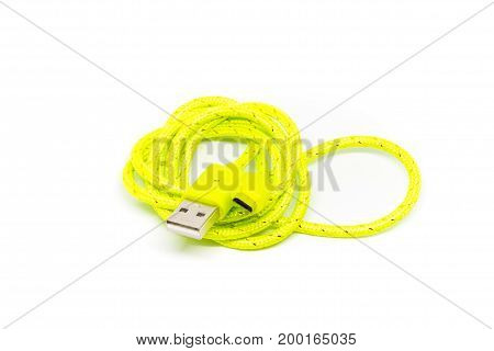 Micro Usb Charger A Cell Phone On White Background.