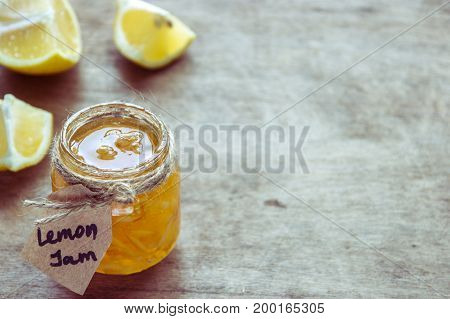 Homemade Lemon Jam In Glass Jar. Organic Fresh Yellow Jam