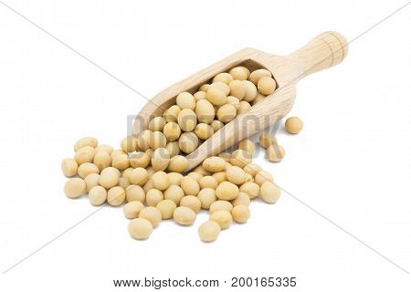 Soybean In Wooden Scoop Isolated On White Background