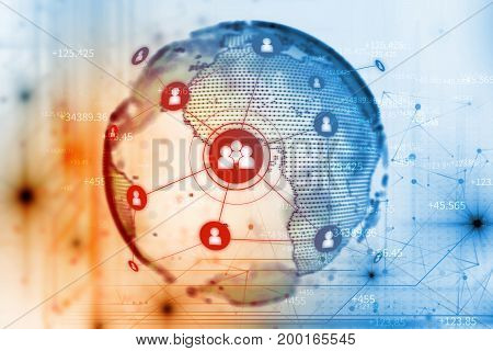 Abstract Illustration Background With User Icon And Connecting Dots And Lines .