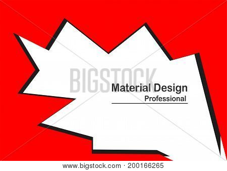 Material design background in red color with text space.