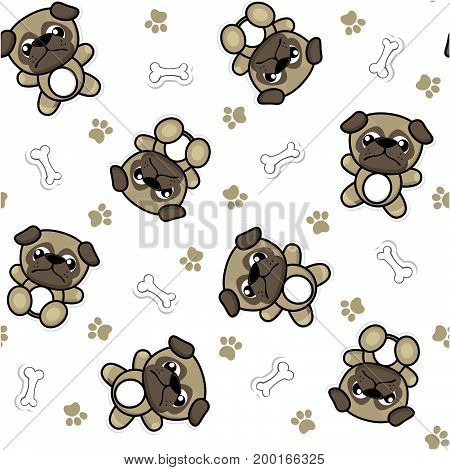 seamless pattern of funny baby pug dogs and puppy elements that looks like stickers, useful for many applications, your background designs or scrapbooking and decoration projects, design for children