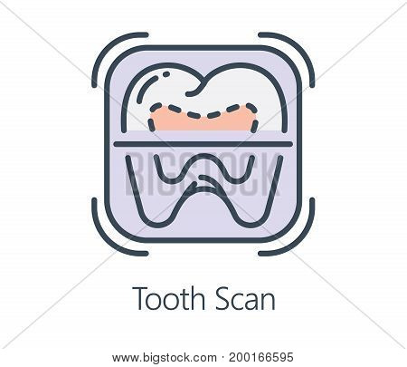 Icon design tooth scan in flat line style. Symbol about health check up and medical concept.