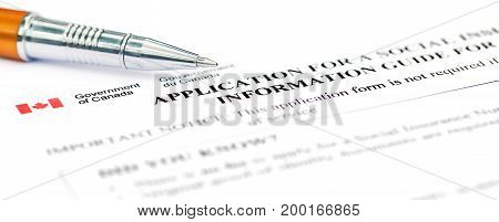 Application for social security Canada with a ballpoint