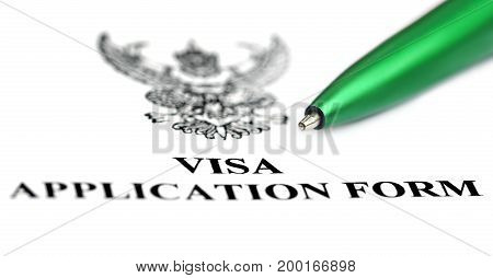 Visa application form with green a ballpoint